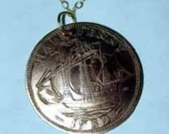 Coin necklace-British Half Penny ship necklace-free shipping
