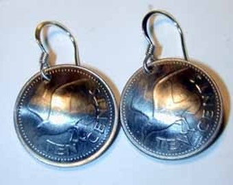 Coin earrings-Barbados seagull earrings-free shipping