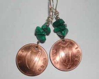 Coin earrings-Green of Ireland earrings-free shipping