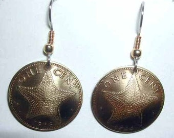 Coin earrings-Bahamas Starfish earrings-handmade in the USA-free shipping