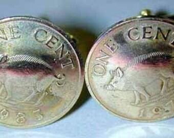 Coin cufflinks- Bermuda Razorback cufflinks-handmade in the USA-free shipping!