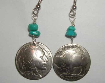 Coin Jewelry-Antique Nickel and Turquoise earrings-handmade in the USA-free shipping