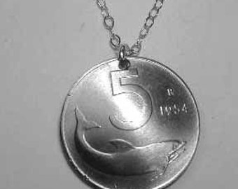 Vintage Italian Dolphin coin necklace-nicely domed-free shipping