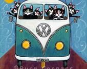 Cats Road Trip Digital 5 x 5 Print Folk Art