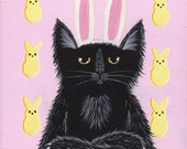 Easter Cat Original Cat Folk Art Painting