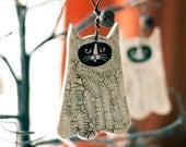 Ghostly Cat Halloween Clay Folk Art Ornament