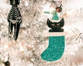 Custom Stocking Christmas Cat Clay Folk Art Ornament