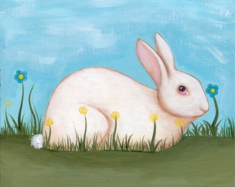 Spring Rabbit Original Folk Art Painting