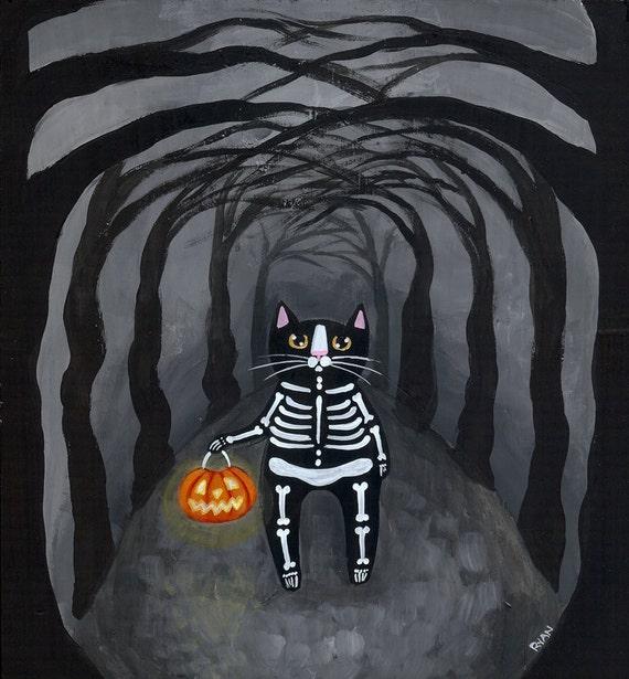 Halloween Skeleton Cat Original Folk Art Painting