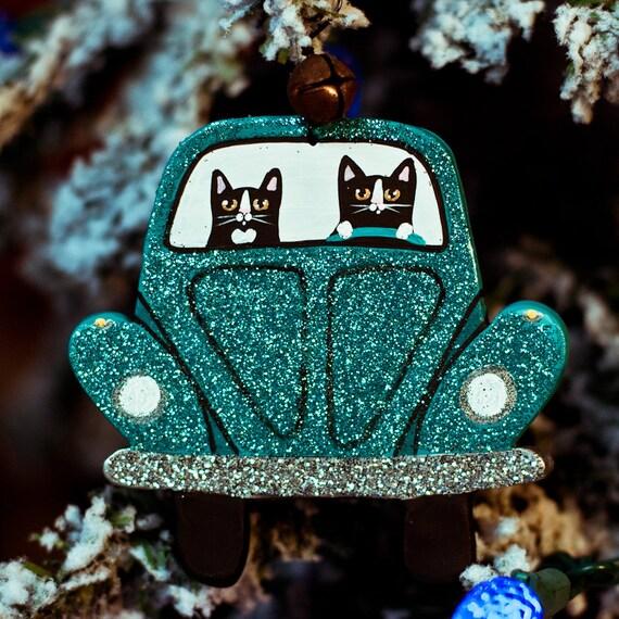 Glittery Christmas Bug Clay Cat Folk Art Ornament