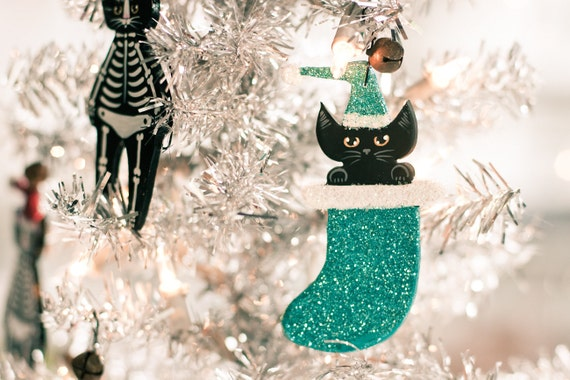 Christmas Cat Clay Ornament