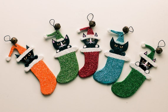 Personalized Stocking Christmas Cat Clay Folk Art Ornament