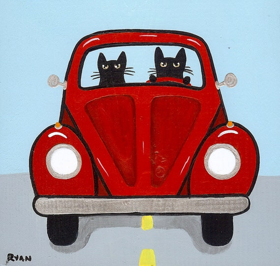 Volkswagen Road Trip Cats Original Folk Art Painting