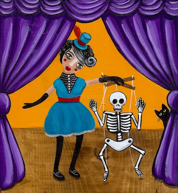 The Puppeteer and Marionette Original Cat Folk Art Painting
