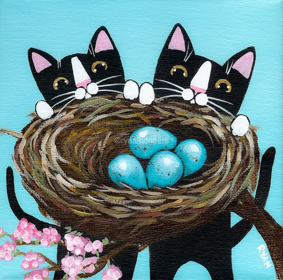 Kittens and the Robins Nest Original Folk Art Painting