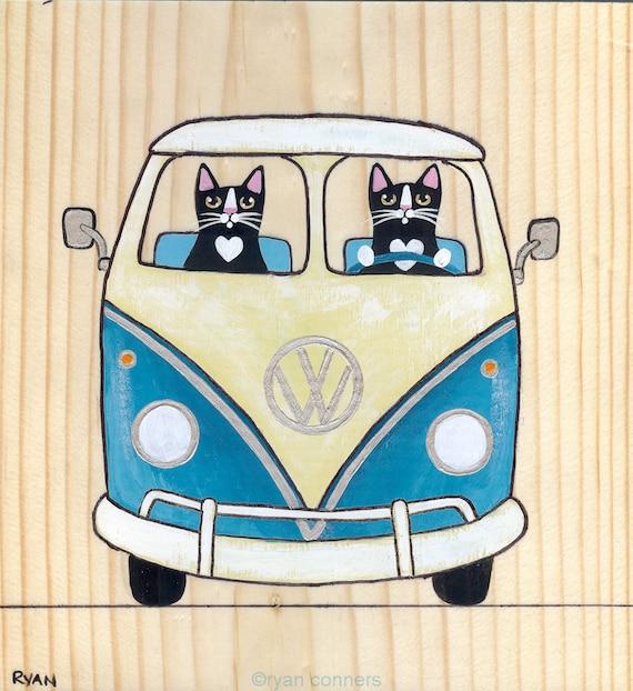 Turquoise and Cream VW Bus Original Cat Folk Art Painting