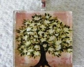 Fragrant Magnolia Tree Original Watercolor  Art Glass Tile Necklace