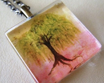 Willow tree original watercolor art glass tile necklace-now in antiqued brass