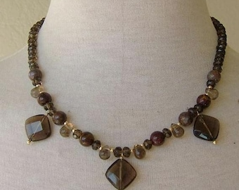 VirginiaDee Faceted Smokey-Quartz, Pietersite and Gold-Filled beads and Toggle clasp