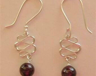 JillMarie Garnet Swirl Sterling Silver Earrings