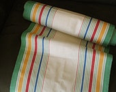 Vintage 1930s Linen Toweling Fabric Green/Multi/Off White