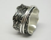 Leaf Pattern Sterling Silver Spinner Ring with Two Sterling Spinners