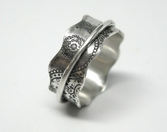 Paisley Sterling Silver Spinner Ring - 8mm wide -