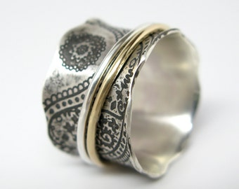 Paisley Vintage Inspired Sterling Silver and 10k Gold Spinner Ring - Size 6 1/2