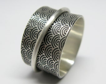 Asian Inspired Water Pattern Sterling Silver Spinner Ring with Brushed Finish
