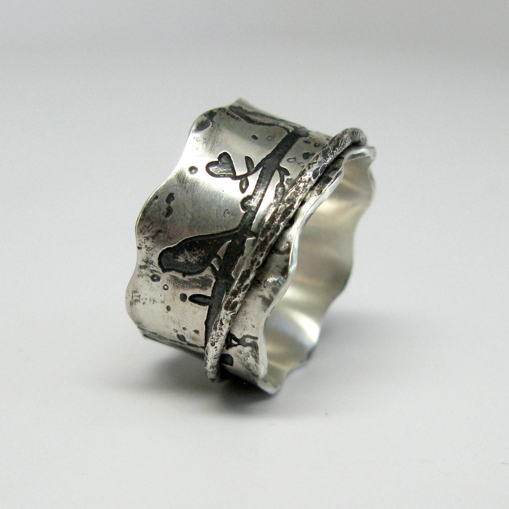 birds on a branch sterling silver spinner ring by