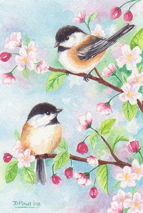 original watercolor painting bird chickadee cherry blossom