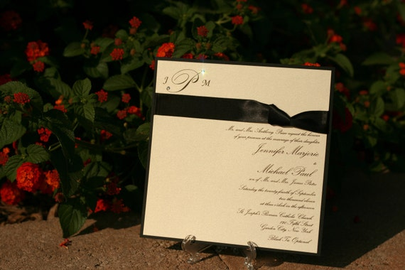 Wedding Invitations Eco Friendly: Wedding Invitation Eco-Friendly Crystal Embellished Monogram