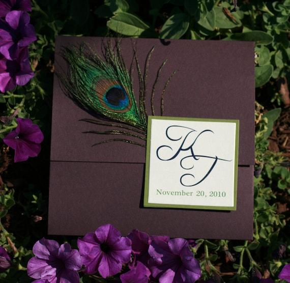 Peacock Wedding Ideas Etsy: Wedding Invitation Luxurious Peacock Pocketfold SAMPLE