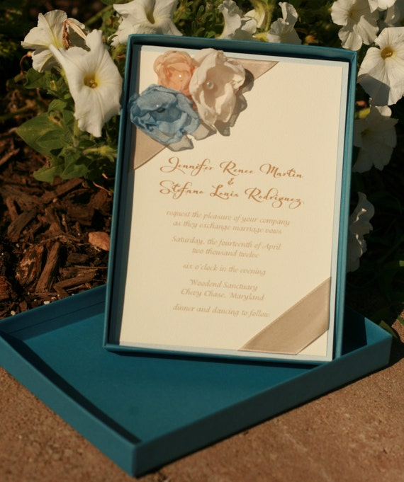 Wedding Invitations Eco Friendly: Wedding Invitation Eco-Friendly Blue Floral Boxed By Staccato