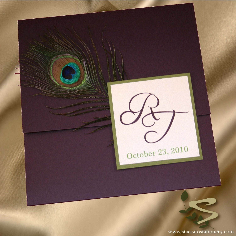 sample of elegant peacock wedding invitation