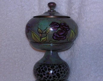 Wood and metal hand painted one of a kind urn bowl