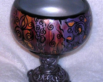 Hand painted wood pedestal bowl one of a kind candy dish