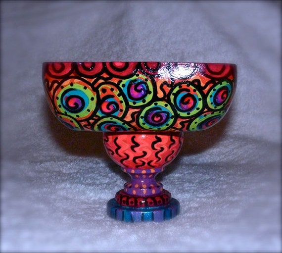 Free Shipping...Hand painted wood trinket bowl one of a kind