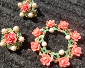 Vintage VTG Pink Rose and Pearl Earrings and Pendant Set