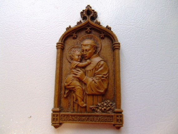 Vintage Barwood St. Saint Anthony Pray For Us Plaque Religious Wall Hanging