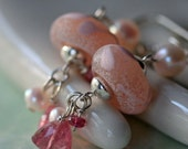Pink Tourmaline, Lamp Work Glass and Pearl Earrings on Sterling Silver