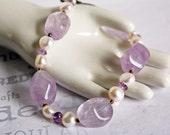 Chunky Amethyst and Pearl Bracelet Handmade Artisan Jewelry