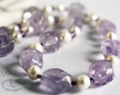 Chunky Pastel Amethyst and Pearl Necklace Genuine Gemstone Handmade Designer Jewelry