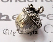 Handmade Sterling Silver Acorn Pendant, Large Silver Acorn Necklace, Sterling Silver Heirloom Acorn Pendant Necklace