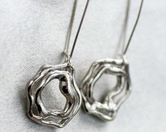 Handmade Stering Silver Earrings, Silver Organic Design Earrings, Modern Abstract Design Earrings