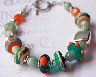 Colorful Beaded Bracelet, Lamp Work Bracelet, Tropical Bracelet, Aquamarine Beaded Bracelet
