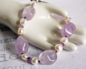 Amethyst and Pearl Bracelet, Chunky Amethyst Bracelet, February Birthstone Amethyst Bracelet, Women's Amethyst Bracelet