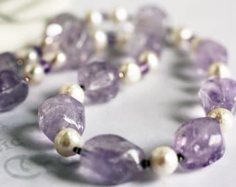 Chunky Pastel Amethyst and Pearl Necklace Genuine Gemstone Handmade Designer Jewelry