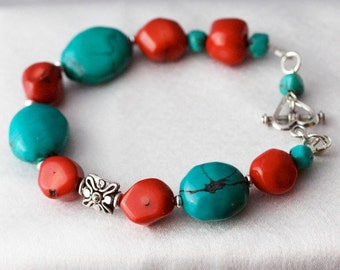 Turquoise and Coral Southwestern Handmade Bracelet, Classic Western Designer jewelry