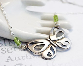 Sterling Silver Butterfly Peridot Necklace , Peridot and Silver Butterfly Necklace,  Modern Peridot Birthstone Necklace